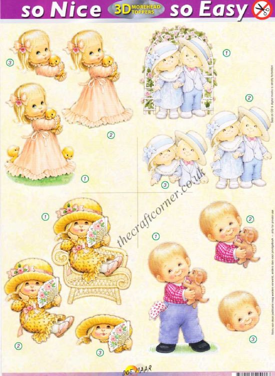 Little Boy With A Puppy & Little Girl With Duck So Nice, So Easy Morehead 3D Die Cut Decoupage Sheet